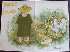 MINAUX. Lithographie originale. Carte de voeux pour 1996
