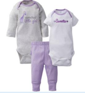 Baby Girl Sweetest Little Giraffe 3 Pieces 2 Onesies Pants Gerber NWT NB 3 6 9