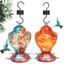 Hummingbird Feeder Glass Blowing Hanging Garden Outdoors Patio 30oz W/Hook Usa