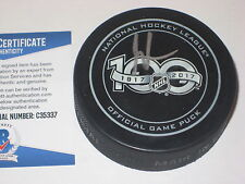 MARTIN BRODEUR Signed NHL 100th Anniversary Official GAME Puck w/ Beckett COA