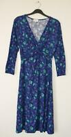NEW EX EAST UK SIZE 8 10 12 PURPLE TEAL FLORAL JERSEY DRESS