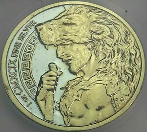 AUGEAN STABLES .999 SILVER ROUND GOLD GILDED PRISTINE ICG PROOF GENUINE #1