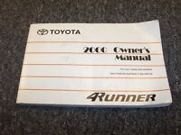 2000 Toyota 4Runner Owner Owner's Operator Guide Manual SR5 Limited 2.7L 3.4L V6