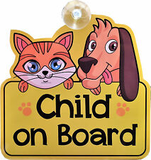 Child on Board car sign with cartoon characters, baby, car window, sticker