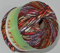 Glitter TRAIL w/Lurex Long Ladder Trellis yarn #321 Peach multi free s&h