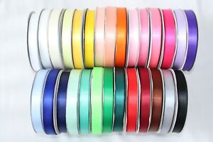 Double Sided Satin Ribbon 10 METRE ROLL in 6mm 10mm 15mm & 25mm widths 3 for 2