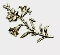 Vintage 59MM STAMPED Silver GENTIAN Flower Brooch - Gift Boxed