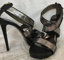 just Cavalli Platform Sandal Shoe Silver And Black Crackled Size 41New $595