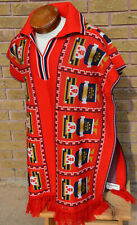 Poncho Serape King Cuauhtemoc Aztec Design Retro Vtg 1970s Mexico Huipil Inca