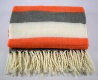 Danish Design Orange Grey White Sofa Bed Throw Blanket Plaid 125 x 150 cm