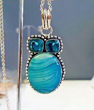 925 Sterling Silver Overlaid Blue Lace Onyx & Blue Quartz Pendant w/Chain