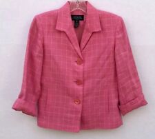 Jones New York Signature Womens 2 Petit Linen Button Up Blazer Jacket Pink White