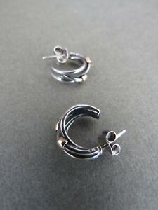 Genuine Pandora Silver 14k Gold Earrings