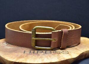 Vintage Handmade Mens Leather Jeans Belt Brown Size 36