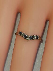 Vintage 9ct Gold Sapphire & diamond  Ring  1.22g
