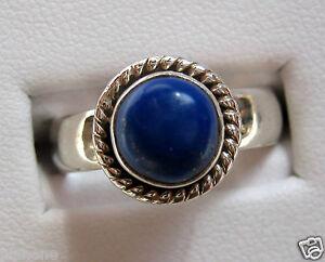 Deep Blue Lapis .925 Sterling Silver Ring Round Shape Cabochon Cut Gemstone