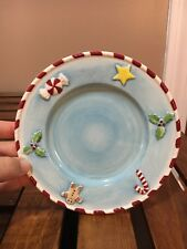 Home Interiors Gingerbread Man Candy Canes Peppermint Christmas Candle Plate 6""