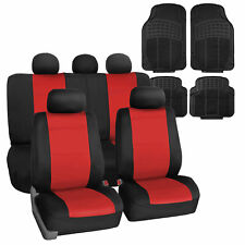 Neoprene Seat Covers For Auto Universal Fitment Red With Black Floor Mats Fits Jeep Cherokee