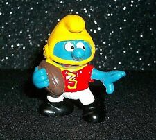 Vtg Peyo Schleich RARE FOOTBALL PLAYER SMURF TOY Action Figure Helmet Ball #3