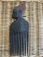 African Hand Carved Wooden Hair Comb Pick