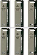 6 x Parker Quink Flow Ball Point Pen Refills BallPen Black Medium New Sealed