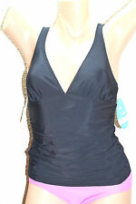 NWT Swim Solutions Black Solid V-Neck Shirred Tankini Top ONLY size 14 NEW #SS2