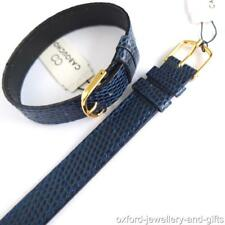 14mm XL1 PIECE NAVY BLUE LEATHER WATCH STRAP LIZARD GRAIN LEATHER. EASY FIT LONG