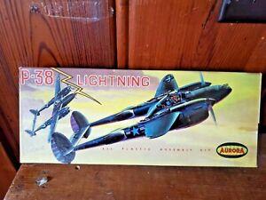 VINTAGE PLASTIC KIT AURORA P-38 LIGHTNING COMPLETE WITH DECALS