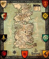 Game Of Thrones Houses Map Westeros New - 22 inch x 34 inch - Huge 101