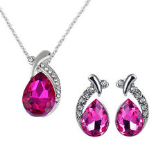 Women Crystal Pendant Silver Plated Chain Necklace Stud Earring Jewelry Set Hot