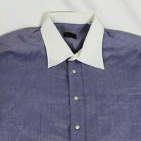 Valentino Mens White Collar Blue Herringbone Shirt Striped Large 16.5 34/35 EUC