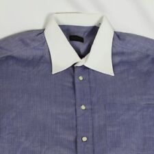 Valentino Mens White Collar Blue Herringbone Shirt Striped Large 16.5 34/35 EUC