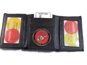 BLACK LEATHER TRI FOLD WALLET 2 ID 17 CARD WALLET USMC US MARINE CORPS NEW
