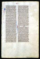 ILLUMINATED MANUSCRIPT MEDIEVAL BIBLE LEAF - c. 1250, ITALY - INITIALS, LUKE