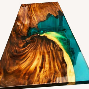 Custom Ocean Epoxy River Table, Live Edge Epoxy Dining Table Decor Made To Order