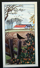 Country Style   Blackbird and Autumn Scene   Vintage Colour Card # VGC