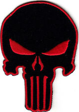 PUNISHER SKULL, BLACK w/RED -  MILITARY - ARMY - TACTICAL-  COMBAT-IRON ON PATCH