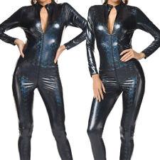Women Wetlook 2 Way Zip Catsuit Bodysuit Clubwear Metallic PVC Leather Jumpsuit