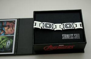 Marvel Comics Captain America Shield Mens Stainless Steel Link Bracelet NOS
