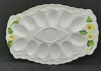 Vintage 1950s, Geo Z Lefton Platter for 12 Deviled Eggs, Rustic Daisy 5182