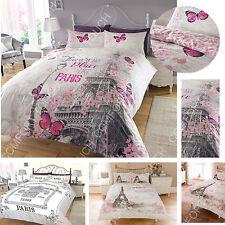 Paris Theme Luxury Duvet Covers Quilt Covers Reversible Bedding Sets All Sizes