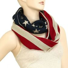 American Flag Scarf Knitted Stars Stripes RED TAN BLUE Infinity Circle USA