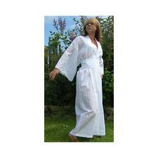 Mei Do White Cotton Lawn Long Cotton Wrap Robe Small/Size 1
