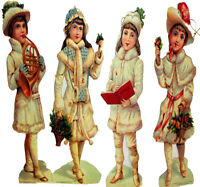 "(Pkg of 4) VICTORIAN CHILDREN Christmas ORNAMENT s 8"" Decorations MINT Shackman"