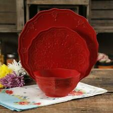 The Pioneer Woman Farmhouse Lace 12-Piece Dinnerware Set, Red