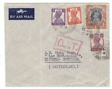 India, O.A.T. Airmail cover to Switzerland, 1945