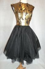 1950s VINTAGE Dbl Layer Chiffon Gold Lame Cocktail Party Dress Lord & Taylor S