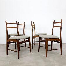 4 Mid Century Modern Dining Chairs 60s new fabric | Danish Teak Stühle 60er 50er
