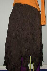 INVERSE DARK BROWN SKIRT HIPPY PUNK FESTIVAL BOHO RETRO (A3)