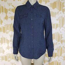 Van Heusen Size Medium Classic Fit Polka Dot Long Sleeve Button Shirt Blouse EUC